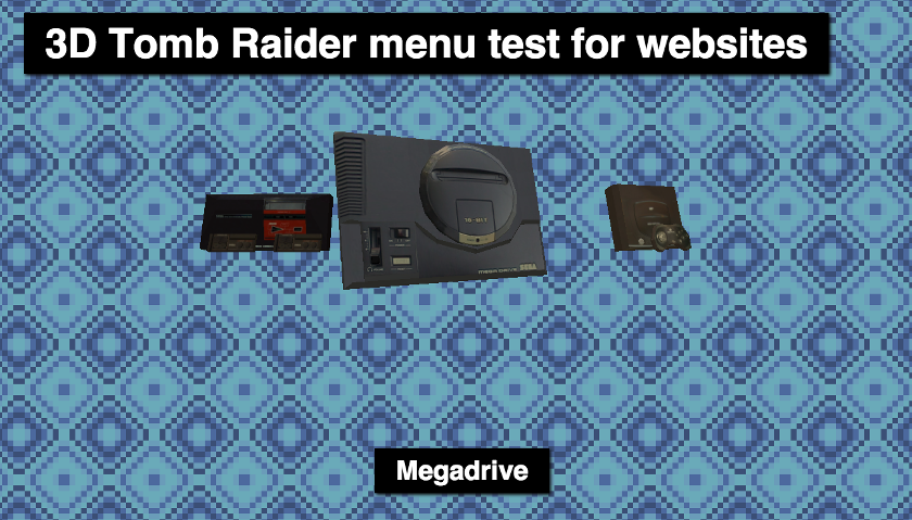 Three.js Tomb Raider Menu